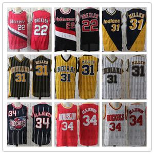Los hombres de la alta calidad barata Drexler 22 Miller 31 Olajuwon 34 Baloncesto Jersey al aire libre cómodo y transpirable deportes Jersey
