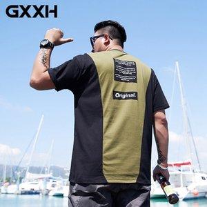 GXXH 100% Cotton 2020 New Summer T-shirts Men Patchwork Contrast Color O-Neck Loose Fit Men's T Shirt Plus Size XXL-5XL 6XL 7XL T200708