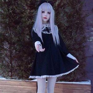 Japanisches Harajuku Schwarz Beige Gothic Lolita Kleid Mädchen Nonne Schwester Anime Cosplay Partei-Kleid GEGD #