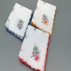 impresa paño de algodón pañuelo blanco de algodón inferior pañuelo refrescante de la mujer pasada de moda 1A0AZ pequeño borde de la Media Luna floral de las mujeres