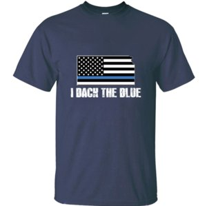 The new Kansas Police Appreciation Thin Blue Line I Back t-shirt for adult and girl Formal female t shirts cotton slogan