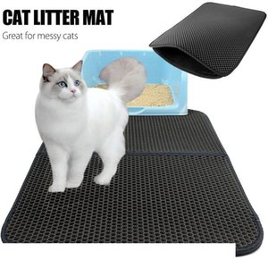 Creative Cat Litter Pad Cats Litter Trapper Cat Mat Black Grey EVA Feeding Mats Double Layer Protect Floor Rug