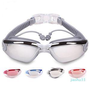 luxury- Swimming Myopia Goggles with Earplug Waterproof Anti-fog Swimming Glasses Anti-UV Myopia Diving Glasses