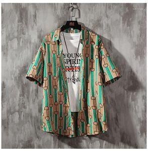 Hawaii Beach Blouses Mens rayé lâche été Chemises homme Shorts Designer Lapel Neck Planche à roulettes Chemise homme