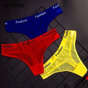 ALICENO письмо Печать Sexy Ladies Хлопок Mesh прозрачные трусики белье Мода Малоэтажное Женщины Нижнее белье Бесшовные стринг HP8