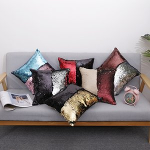 27color Bicolor Cushion Cover Pillow Magical Glitter Throw Pillow Case Home Decorative Car Sofa Sequined Pillowcase 40*40cm