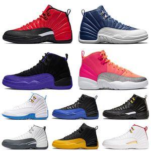 nike air jordan retro 12 12s 12 XII رجل حذاء كرة السلة 12 ثانية جديد JUMPMAN 23 DARK CONCOR Stone Blue Reverse Flu Game Hot Punch Trainers Sport Sneakers Size 13