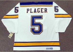 Benutzerdefinierte Männer Jugend Frauen Jahrgang # 5 BOB PLAGER St. Louis Blues 1967 CCM Hockey-Jersey-Größe S-5XL oder benutzerdefinierten beliebigen Namen oder Nummer