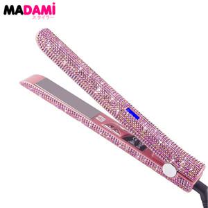 Madami LCD Display Haar-flaches Eisen-Strecker-470F Titanium Schwimmplatte Rose Gold Kristall Strass MCH Schnelle Heizung Bügeleisen CX200721