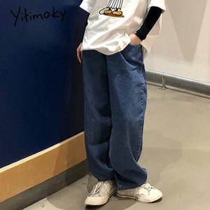 yitimoky jeans boyfriend for women loose vintage wide leg jeans korean straight fashion Full-length casual denim for woman