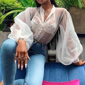 GAOKE дамы Sheer Puff рукавом органзы Mesh Black White Рубашка женская Топы и блузки весна мода 2020 eBsu #