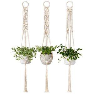 Macrame Plant Hanger Set Of 3 Indoor Wall Hanging Planter Basket Flower Pot Holder Boho Home Garden Decor Boho Hanging Planter