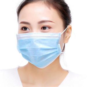 Einweg-Gesichtsmaske Non-Woven 3 Ebene Gesichtsmasken mit elastischer Ohrschleife atmungsaktiv für Blocking Staub-Luft-Anti-Pollution IIA310 Maske