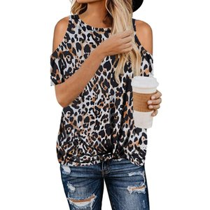 Fashion Leopard Print Summer Basic T Shirt Women Short Sleeve Strappy Cold Shoulder Loose Fit Pullover Casual Top