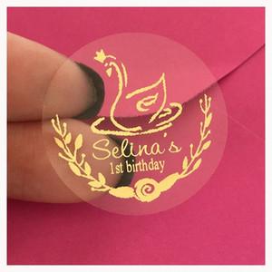 (60) 사용자 정의 크라운 백조 40 생일 파티 호일 골드 부탁 스티커 개인화 된 핑크 골드 첫 번째 생일 선물 상자 병 라벨 96yI 번호