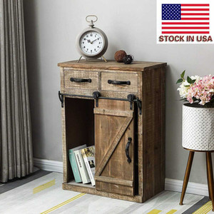 New Durable Storage Cabinet European Retro Wooden Cabinet Classic USA Country Style Single Barn Door With 2 Drawers Vintage Wooden Cabinets