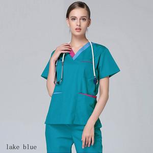 Kadın Moda Scrub En Renkli Yan Vent ile Pamuk Doktor Hemşire Kıyafetleri Giyim Tasarım V yaka Kısa Kollu Tıp Üniformalar Engelleme