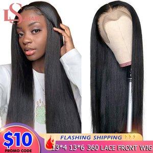 Straight 13x4 фронта шнурка человеческих волос Парики для женщин 28 30 32 дюймов Бразильское 360 Lace Фронтальная парики закрытие 4x4 шнурка Remy париков LS