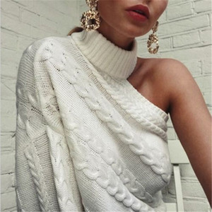 ملابس المرأة العصرية كم طويل محبوك الكتف واحد سترة صوفية الصلبة سلحفاة الرقبة أبلى قطعة واحدة T200728