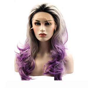 Dark Roots Synthetic Lace Front Wig Long Wavy Grey Purple Wigs Ombre #1B Purple Free Part Layered