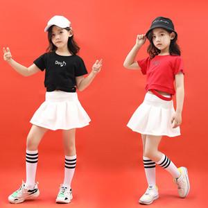 Kız Caz Dans kılık kıyafetleri Wear için Çocuk Moda Hip Hop Giyim Siyah Üst Mahsul Tshirts Beyaz Etekler