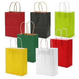 Custom LOGO Kraft Paper Bag 9 Solid Colors Festival Gift Package Brown Paper Handbag Candy Colored Shopping Bag