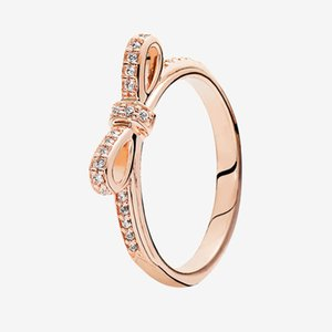 High quality Rose gold plated Classic Bow Rings Fashion Jewelry with Original box for Pandora Real Sterling Silver cz diamond Ring