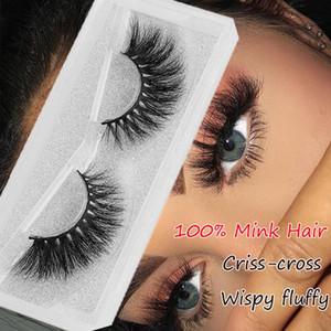1 Pair 100% Mink Hair False Eyelashes Thick Long Criss-cross Wispy Messy Handmade Lashes Cruelty-free Extension Eye Makeup Tools