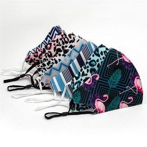 cara mascarilla adulto leopardo de impresión de diseño 20pcs máscaras a prueba de polvo a prueba de smog transpirable lavable máscara máscara auricular ajustable hebilla