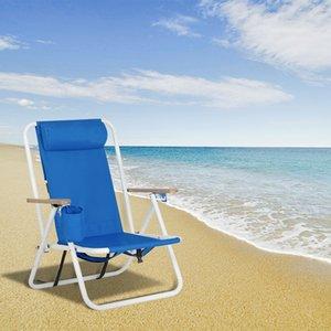 Silla Silla mochila de playa plegable portable de la silla azul sólido de construcción camping playa individual plegable para Leisurely vacaciones