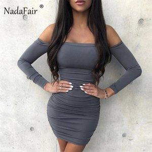 Omuz seksi sarma BODYCON elbise kadınlar kapalı Nadafair uzun kollu 2020 sırtı açık gündelik mini kulüp parti elbise bahar dantelli
