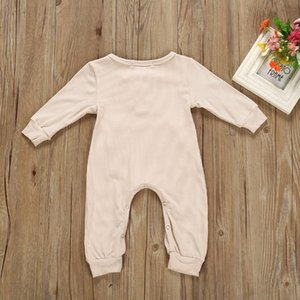 INS Baby Clothes Solid Newborn Boy Rompers with Pocket Long Sleeve Infant Girls Jumpsuits Boutique Baby Clothing 3 Colors DW4870
