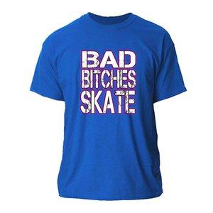 Пользовательский Bad Bitches Skate T-Shirt Мужчина Большая хлопок Футболка для мужчин Женщин Homme Смешного Tee Shirt Man Summer Simple Cute Tops