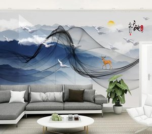 Custom 3D Wallpaper Modern Line ink landscape Photo Wallpaper Living Room Home Decor Fashion 3D Backdrop Wall Stickers