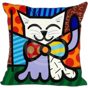 Personalizzato Romero Britto Style Cotone Lino Row Cuscino Cuscino cuscino del divano Copricuscino