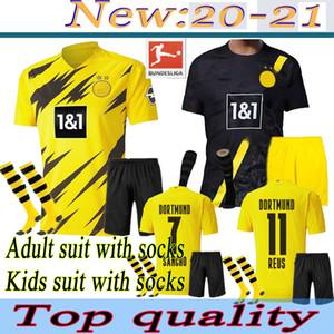 20 21 Adult kids suit with socks soccer jerseys HAALAND 2020 2021 adult kit + socks football shirts SANCHO REUS HUMMELS BRANDT PACO DELANEY