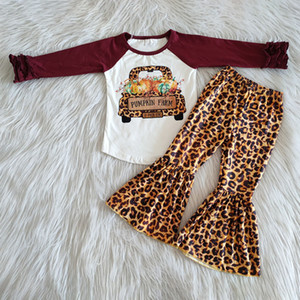 fashion fall outfits baby girl clothes sets hot sale bell bottom outfits kids designer clothes girls outfits pumpkin print long sleeve sets