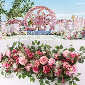 50 cm 100 cm DIY Flores de la boda Arreglo de la pared Suministros de peonías de seda Rose Artificial Fila Fila Decoración de la boda Hierro Arch Tell