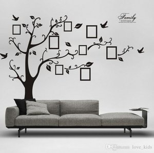 Free Shipping:Large 200*250Cm 90*120in Black 3D DIY Photo Tree PVC Wall Decals Adhesive Family Wall Stickers Mural Art Home Decoration
