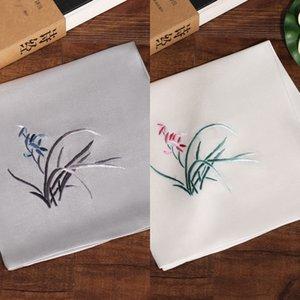 소주 실크 특성 해외 손수건 실크 손수건 한 새틴 QruHo 소주 자수 뽕나무 여성의 실제 자수 난초