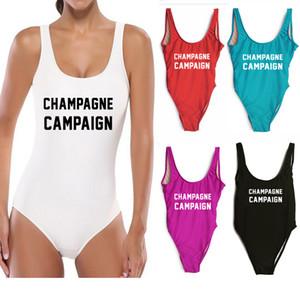 Women One Piece Swimsuit CHAMPAGNE CAMPAIGN Bodysuit Swimwear Sexy High Cut Bathing Beach Pools Suits Women Jumpsuit Bikini HH7-1105
