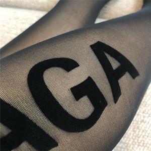 Big Lettera stretto nero sexy calze di modo sottile stretta del vestito da partito Calze Femminile Night Club Calze Donne Coscia Calze