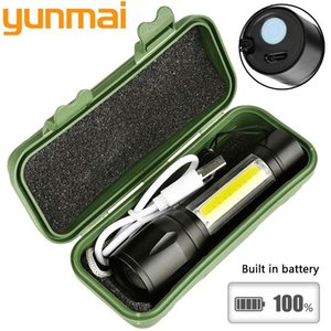 2020 New 1517 2000lm Built In Batttery Mini Q5 & Cob Led Zoom Aluminum 4 Modes Torch Rechargeable Lantern