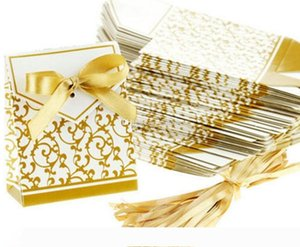 Hot Wedding Favour Favor Bag Sweet Cake Gift Candy Wrap Paper Boxes Bags Anniversary Party Birthday Baby Shower Presents Box gold silvery