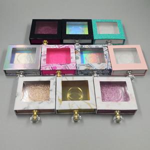 Crystal selector cuadrado Lash caja de la pestaña falsa Caja de empaquetado falso 3D Mink pestañas cajas vacías diamante magnética del RRA3287