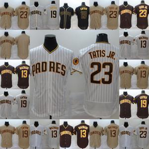 Erkek 19 Tony Gwynn Jersey San Diego 13 Manny Machado 23 Fernando Tatış Jr Tüm Dikişli Flex Bankası Soğuk Taban Beyzbol Formalar S-XXXL