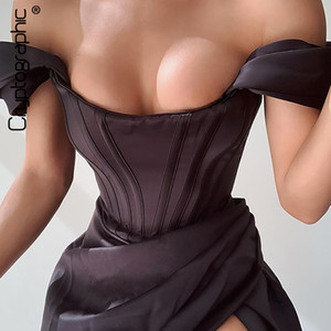 Cryptographie Off Sexy Bretelles Split Corset Corset Satin Robes Satin Mode 2020 Modycon Robe Femmes Party Night Club Élégant