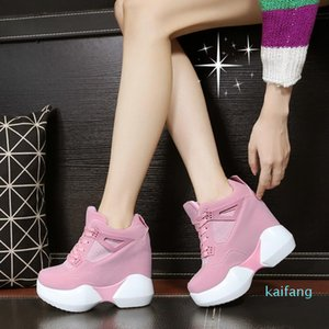 Hot Sale-Fashion Autumn Winter Women's High Platform Shoes leathe Shoes Thick Sole Trainers Lady Shoes pink white