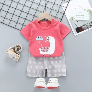 Baby boy clothing set Summer 2pcs kids clothes sets t-shirt+pants suit Striped Printed Clothes newborn sport suits 2020 gfyp#