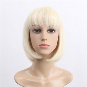 Art und Weise Frauen Short Gold-gerade blonde Synthteic Haarperücke der Frauen Kurzhaarperücke